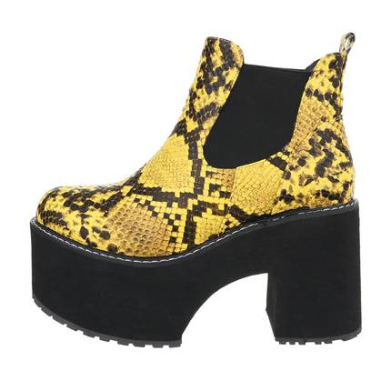 Damen High-Heel Stiefeletten - yellow