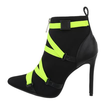Damen High-Heel Stiefeletten - blackgreen
