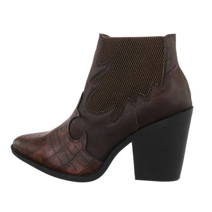 Damen High-Heel Stiefeletten - coffee