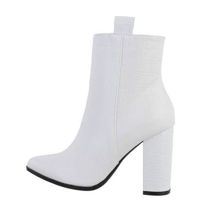 Damen High-Heel Stiefeletten - whitecroc