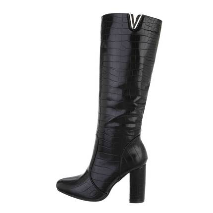 Damen High-Heel Stiefel - blackcroc